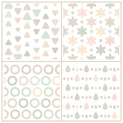 Set of 4 beige seamless patterns with geometric shapes