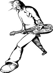 Single Electric Guitarist Outline