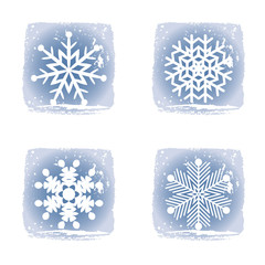 Set on different snowflakes grunge icons