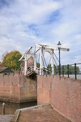 Drawbridge at the port ancient town of Heusden, Netherlands.