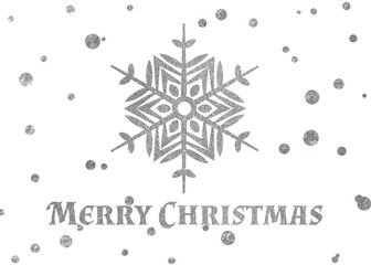 Silver snowflake and inscription Merry Christmas.