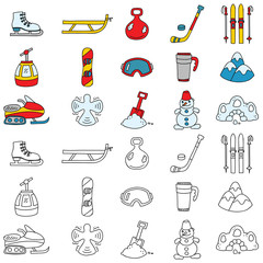 Set of winter sport and recreation icons. Vector doodle illustration.