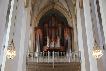 Church organ pipes with lights