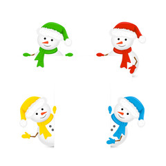 Snowmen holding blank paper