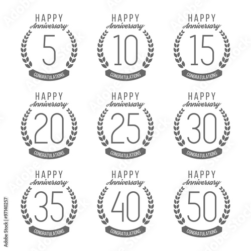 Vector Set Of Anniversary Signs Symbols 510 15 20 25 30 35