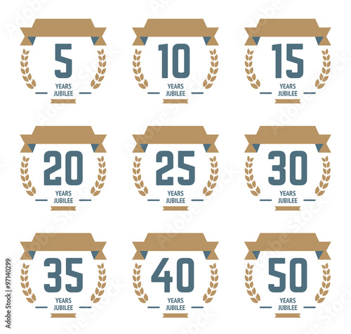 Vector Set Of Anniversary Signs Symbols 510 15 20 25 30 35