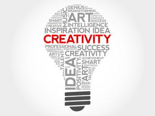 Creativity bulb word cloud concept