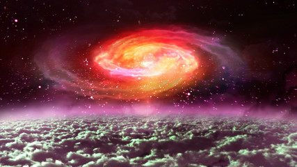 red galaxy at night in the space.