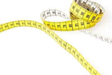 Yellow measuring tape - white background