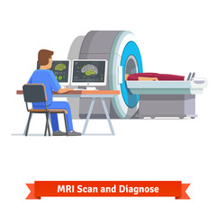 Doctor looking at results of brain scan. MRI