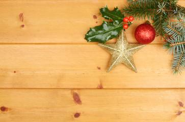 Christmas motif on wood