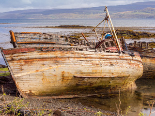 The old wooden boats at Salen Bay, Salen, Mull, Scotland, UK