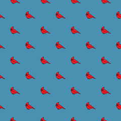 Vector seamless pattern with cardinal birds on dark blue background
