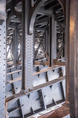 View from under a metal bridge over a river