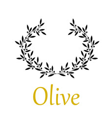 Olive wreath on white background. Vector illustration