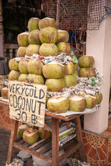 Green coconut on sale in Thailand for drinking
