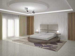 Interer modern bedroom with textured background.