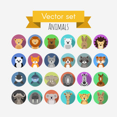 Set of flat style vector avatars of animals