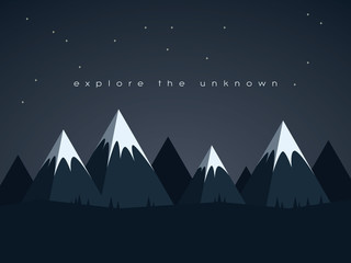 Low poly mountains night landscape vector background with stars in the sky. Symbol of exploration, discovery and outdoor adventures