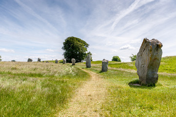 Large ancient stones in a field in summer