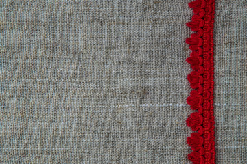 natural linen and lace background