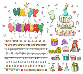 Cute birthday set. Cartoon birthday cake with candle number one, balloons, garlands, gift boxes. Doodle collection for party, kids design,  invitations. All objects are grouped and isolated on white.