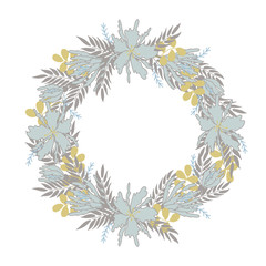 Vector winter floral frame with place for text.  Flower wreath in pastel colors. For Christmas and New Year greeting cards, save the date cards, wedding invitations, scrapbooking and other.
