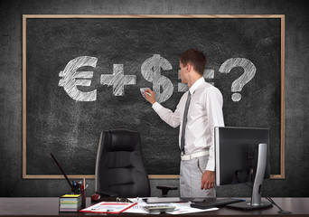 businessman drawing money formula