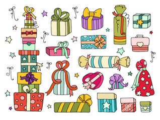 Set of cute doodle gifts boxes for your designs (birthday party, wedding celebration). Collection of cartoon presents with hearts, stars, bow, ribbon. Hand drawn vector isolated on white.