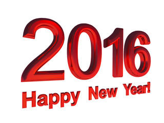 red text - Happy New Year 2016, isolated