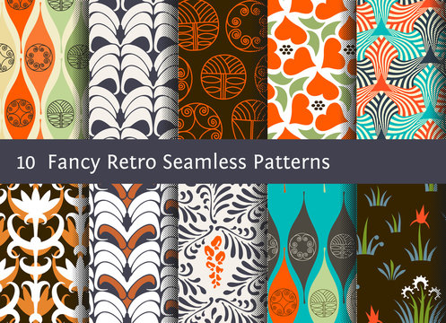 Abstract seamless patterns. Geometrical and floral ornaments