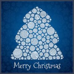 Christmas Card. Christmas tree from balls illustration.