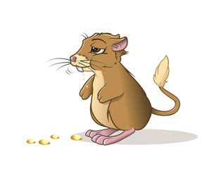 cartoon vector illustration of a kangaroo rat eating