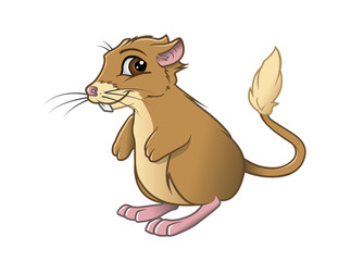 cartoon vector illustration of a kangaroo rat smiling
