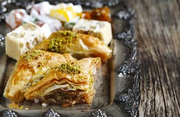 Turkish sweets. (Baklawa, mixed Lokum, Grape Molasses with walnu