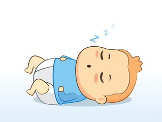 Lovely baby wearing diaper sleeping for good grow.