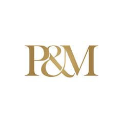 P&M Initial logo. Ampersand monogram logo