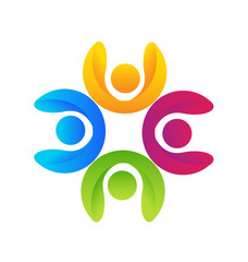 Logo concept of community unity people, success, solidarity, friendship vector graphic.