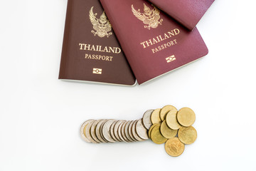 Thailand Passportt and coin Isolated on white background