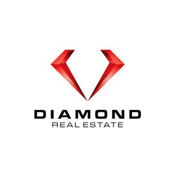 3D Jewelry Diamond Real Estate logo icon