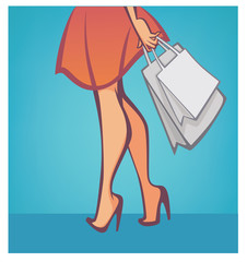 legs and bags, vector shopping and fashion background
