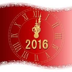 Carte vœux 2016 fond rouge avec horloge à minuit