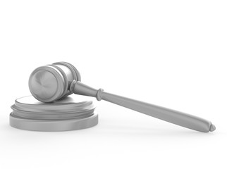 steel gavel and soundboard on white background. LAW concept
