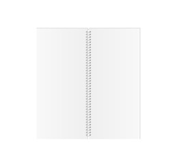 white blank spiral paper book on white background, isolated