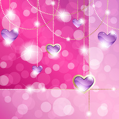 Sparkly hot pink banner with heart-shaped pendants