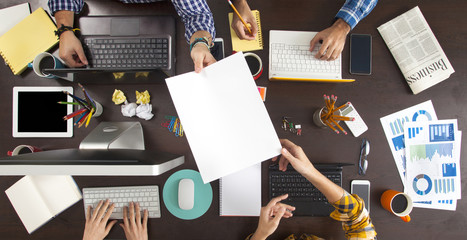 Business People Working on an Office Desk Wall mural