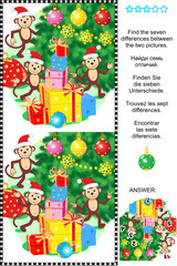 New Year or Christmas holiday themed visual puzzle: Find the seven differences between the two pictures of monkeys, christmas tree and presents. Answer included.
