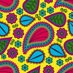 Seamless pattern in gypsy style.  Ethnic ornament with flowers and paisleys.