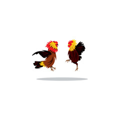 Cockfight. Vector Illustration.