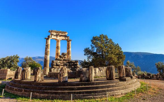 ruins Athina Pronaia temple in Ancient Delphi, Greece, Europe